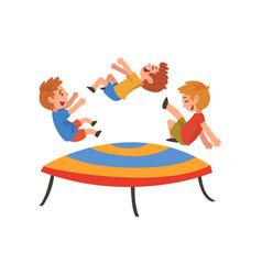 Boys jumping on trampoline happy trampolining vector