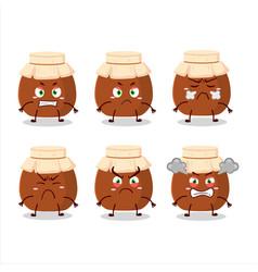 Brown honey jar cartoon character with various vector