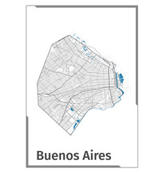 buenos aires map poster administrative area plan vector image