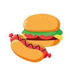 burger and hot dog vector image