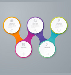Business infographics timeline with 5 circles vector