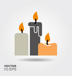 candles flat silhouette icon with shadow vector image
