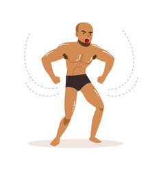 cartoon character of angry wrestler in fight vector image vector image