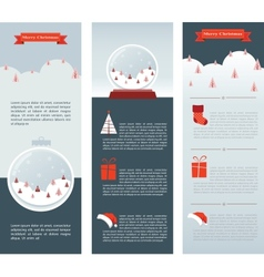 christmas infographic set three info cards vector image