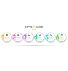 Concept shopping process with 6 successive vector