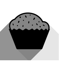 cupcake sign black icon with two flat vector image