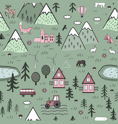 cute hand drawn scandinavian seamless vector image