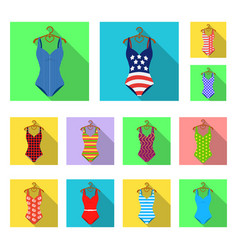 different types of swimsuits flat icons in set vector image