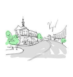 Digital minimalistic drawing of kyiv landscape vector