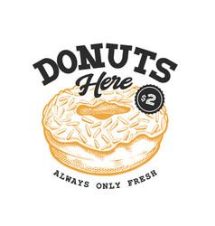 donut retro emblem vector image