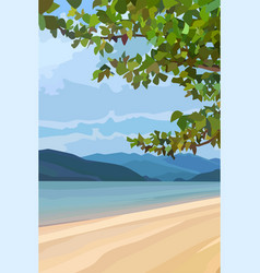Drawn summer landscape of a river with mountains vector