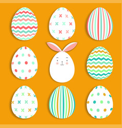 easter eggs set collection and bunny on orange vector image
