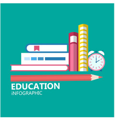 education infographic pencil books clock backgroun vector image