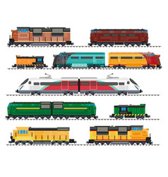 electric and diesel locomotives high speed train vector image