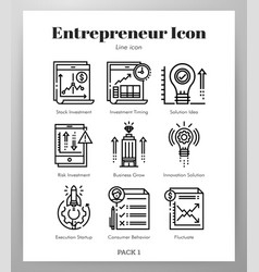 entrepreneur icons line pack vector image