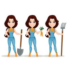 Farmer girl dressed in work jumpsuit set cute vector