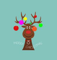 festive christmas reindeer wearing christmas tree vector image
