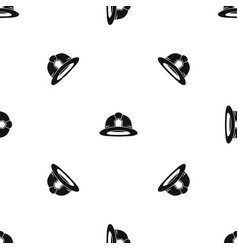 Fireman helmet pattern seamless black vector