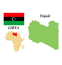 Flag map capital libya vector