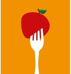 Fork with apple icon vector