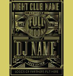 Fullmoon party art deco design flyer disco night vector