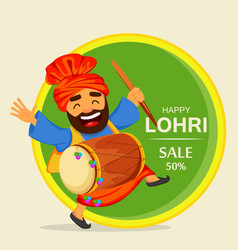Funny dancing sikh man with drum celebrating vector