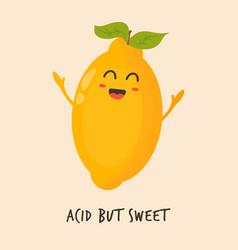 Funny happy lemon character design vector