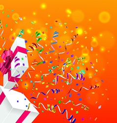 Gift with Confetti Background vector image