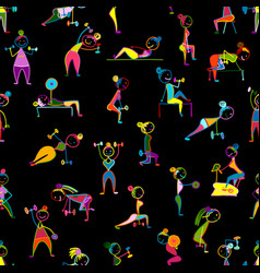 girls doing sport exercises seamless pattern for vector image