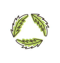 green leaves icons isolated on white vector image