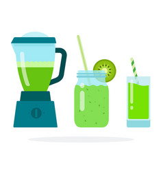 Green smoothies in a blender in a glass jar with vector