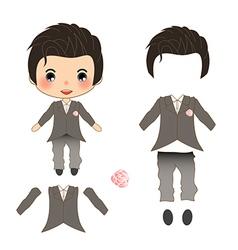 Groom Wedding Suit Costume vector image