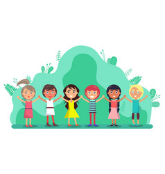 group children holding hands friendship vector image