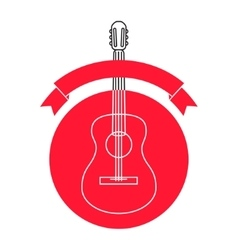 Guitar shop logo template vector