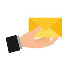 hand holding email social media vector image