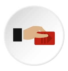 Hand pays for parking icon flat style vector