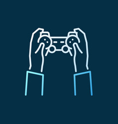 hands with gamepad colored icon in outline vector image