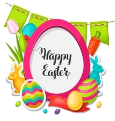 Happy Easter photo frame with decorative objects vector