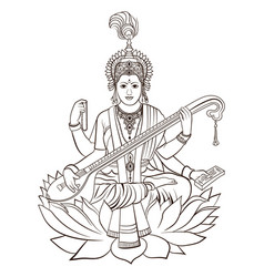 Hindu goddess saraswati hand drawn vector