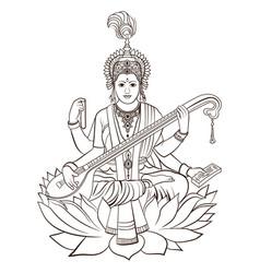 hindu goddess saraswati hand drawn vector image