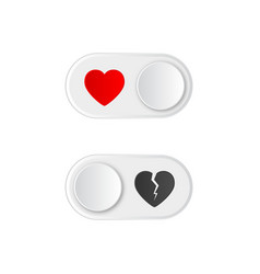 Icon on and off toggle switch button with red vector