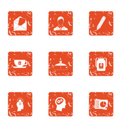 Intention icons set grunge style vector