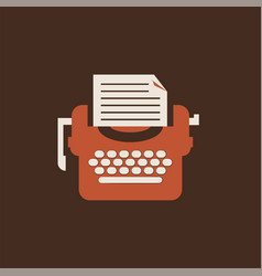 isolated typewriter icon flat for writers vector image