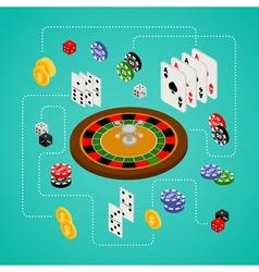 Isometric set gambling and casino items vector