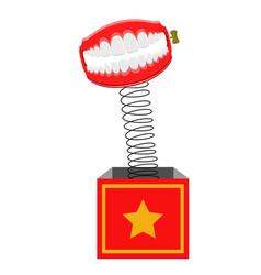 joke box with funny teeth vector image