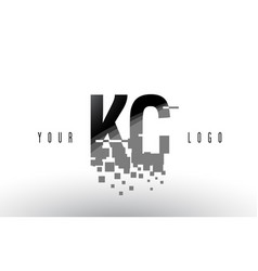 Kc k c pixel letter logo with digital shattered vector