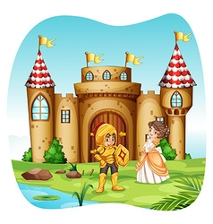 Knight and princess with castel vector image