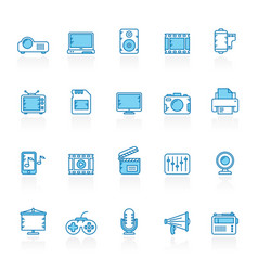 line with blue background modern multimedia icons vector image