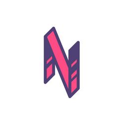 Logo sign letter n linear outline icon vector
