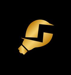 luxury gold light bulb and lightning logo design vector image